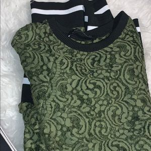 Green lace long shirt tunic Zara size medium